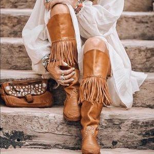Karma of Charme tan tassel boots